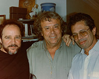 With Leo Brower, Cuban composer, guitarist and conductor; Tomas Luis de la Victoria, winner of the Latin-American Award and founder of the Guitar International Festival, which carries his name; and Gabriel Tortella. Artist's studio, Havana.
