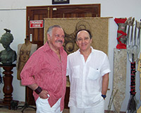 "With José Luis Cuevas, painter, draftsman, writer, engraver, sculptor and illustrator, one of the main figures of the ""Rupture Generation"" with Mexican mural painting. Artist's Studio. Havana."